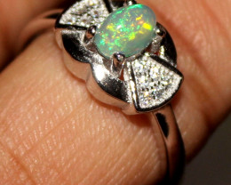 Natural Ethiopian Fire Opal 925 Silver Ring Size US (8.5) 290