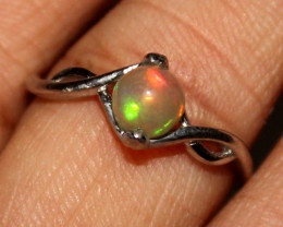 Natural Ethiopian Fire Opal 925 Silver Ring Size US (8) 285