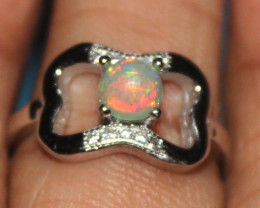 Natural Ethiopian Fire Opal 925 Silver Ring Size US (5) 274