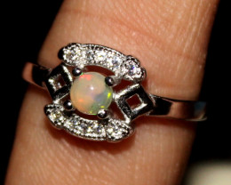 Natural Ethiopian Fire Opal 925 Silver Ring Size US (7) 276