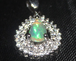 Natural Ethiopian Fire Opal 925 Sterling Silver Pendant 278