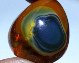 "53.03 ct "" Baby in the Womb ""  Pear cab Natural Ethiopian Fire Op"