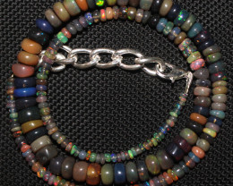 61 Crts Natural Ethiopian Welo Fire Smoked Opal Beads Necklace 57