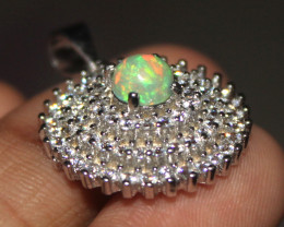 Natural Ethiopian Fire Opal 925 Sterling Silver Pendant 279