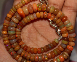 96 Crts Natural Ethiopian Welo Fire Opal Beads Necklace 3109