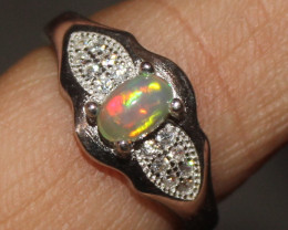 Natural Ethiopian Welo Fire Opal 925 Silver Ring Size (6 US) 299