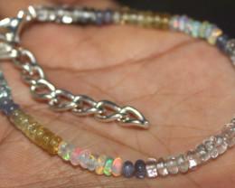 23 Crt Natural Welo Opal , Auamarine & Tanzanite Beads Bracelet 200