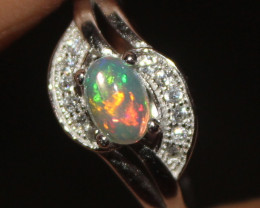 Natural Ethiopian Welo Fire Opal 925 Silver Ring Size (7 US) 302