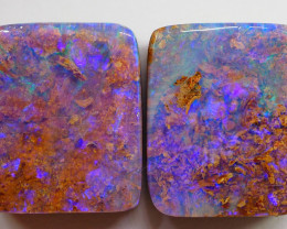16.35CT BRIGHT BOULDER PIPE OPAL PAIR NN326