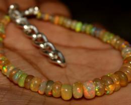 29 Crt Natural Ethiopian Welo Fire Opal Beads Bracelet 183