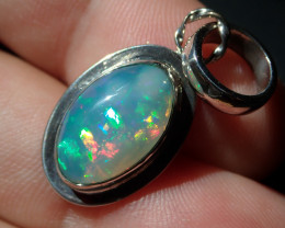 Rainbow Blazing Welo Solid Opal .925 Sterling Pendant