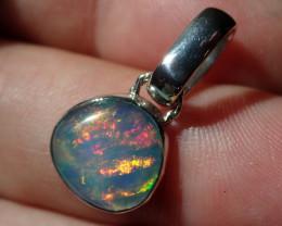 Grey Base Blazing Welo Solid Opal .925 Sterling Pendant