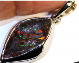 19.60 CTS BOULDER OPAL SILVER PENDANT OF-2572