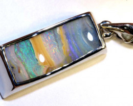 22.65 CTS BOULDER OPAL SILVER PENDANT OF-2575