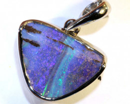19.50 CTS BOULDER OPAL SILVER PENDANT OF-2576