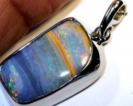 19.40 CTS BOULDER OPAL SILVER PENDANT OF-2594