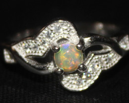 Natural Ethiopian Welo Fire Opal 925 Silver Ring Size (5 US) 314