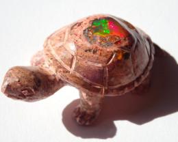Turtle Figurine Mexican Matrix Cantera Multicoloured Fire Opal