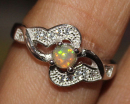Natural Ethiopian Welo Fire Opal 925 Silver Ring Size (5.5 US) 306