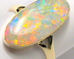 Solid Opal Ring Natural Australian Gemstone 14k Gold Free Size 7 Rare Gem #
