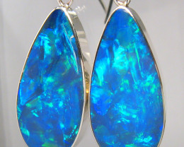 BIG Sterling Silver Natural Inlay Australian Opal Earrings Jewelry Gift 22c