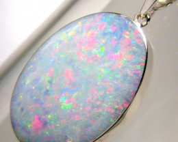 Big Solid Silver Australian Natural White Opal Pendant Gift Necklace 22.6ct