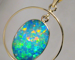 Australian Opal Pendant 14kt Gold Genuine Natural Inlay Jewelry 10.2ct Gift