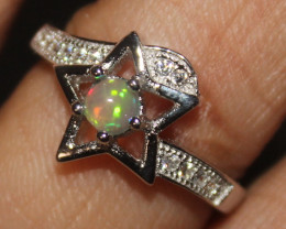 Natural Ethiopian Welo Fire Opal 925 Silver Ring Size (7 US) 318
