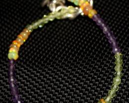 13 Crt Natural Welo Opal, Peridot & Amethyst Beads Bracelet 258