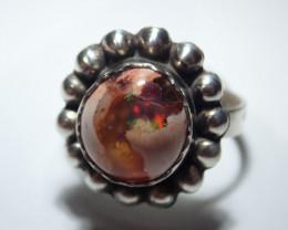 8.5 Sz Stearling .925 Blazing Welo Solid Opal
