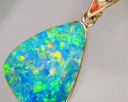 Genuine Australian Opal & Diamond Pendant Inlay Jewelry 14k Gold Gift 6