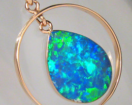 Australian Opal Pendant 14k Rose Gold Genuine Natural Inlay Jewelry 9.8ct A