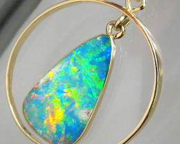 Australian Opal Pendant 14kt Gold Genuine Natural Inlay Jewelry 8.9ct Gift