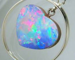 Australian Opal Pendant 14k White Gold 11.5ct Genuine Heart Jewelry Gift Ge