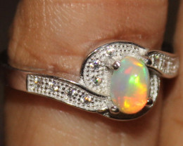 Natural Ethiopian Welo Fire Opal 925 Silver Ring Size (7 US) 316