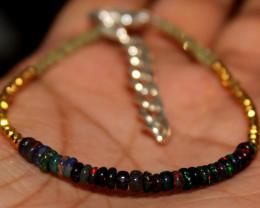 13 Crt Natural Welo Smoked Opal, Peridot & Pyrite Beads Bracelet 252