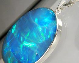 Opal Pendant HUGE 925 Silver Australian Natural Inlay Vivid Green Gift 22ct