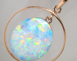 Australian White Opal Pendant 14k Pink Gold Hoop 14.7ct Genuine Jewelry Gif