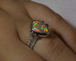 Australian Natural Crystal Black Opal Gold Diamond Ring j004