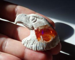 70 cts Eagle Figurine Mexican Matrix Cantera Multicoloured Fire Opal
