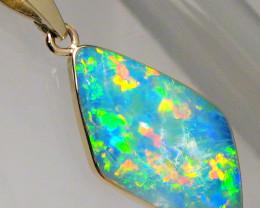 Australian Opal Pendant 5.8ct 14k Gold Authentic Genuine Inlay Jewelry Gift