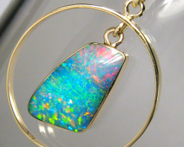 Rare Australian Opal Pendant 14kt Gold Genuine Natural Jewelry 9.6ct Gift A