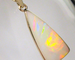 Solid Australian Opal Pendant 14k Gold Natural Jewelry Red Gem Gift Gemston