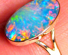 Natural Australian Opal Ring Size 7 14k Solitaire Inlay Gem Jewelry Gift 2g