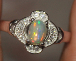 Natural Ethiopian Welo Fire Opal 925 Silver Ring Size (5 US ) 309