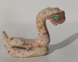 70ct Mexican Matrix Cantera Multicoloured Fire Opal Animal Figurine