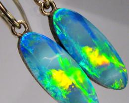 Opal Earrings 14k Gold Natural Australian Dangle Jewelry Gift Green Fire 7c