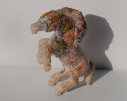 500ct Mexican Matrix Cantera Multicoloured Fire Opal Animal Figurine