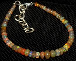 22 Crts Natural Ethiopian Welo Fire Opal Beads Bracelet 224