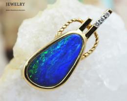Handmade 14K Yellow Gold Doublet Opal Pendant OPJ121